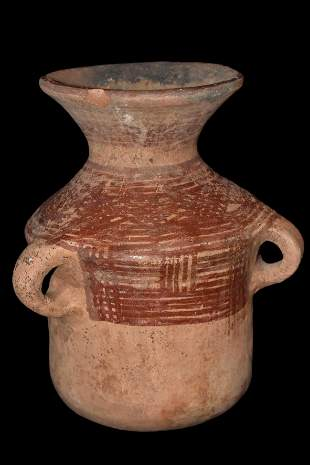 """NICE 8 1/4"""" TALL SOLID PRE-COLUMBIAN BOTTLE WITH 3"""