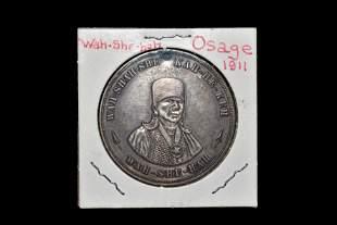 RARE 1911 SILVER INDIAN TRADE MEDAL, COIN, TOKEN,