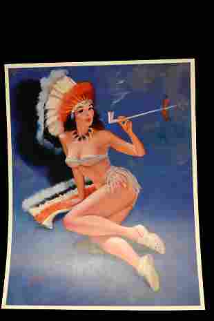 "10 1/2"" X 14"" VINTAGE INDIAN WOMAN SMOKING A PIPE"