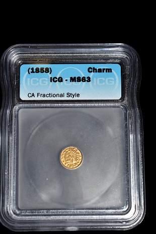 RARE MS-63 1858 GOLD COIN, CALIFORNIA GOLD RUSH ERA