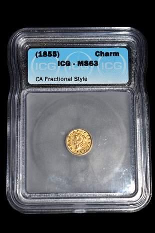 RARE MS-63 1855 GOLD COIN, CALIFORNIA GOLD RUSH ERA