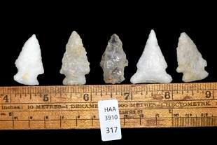 Lot of 5 Quartz Arrowheads found in Eastern North