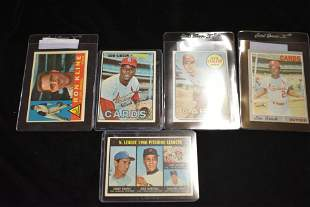 5 Topps Baseball Cards- Gibson, Brock, Carlton, Kofax