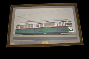 Art Deco Drawing of Chicago Surface Line Car