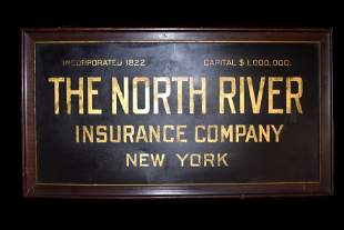Very Early Tin New York Insurance Sign, Gold Lettering