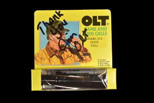 Signed by Jim Olt, new in box model D-2 Olt Duck Call,