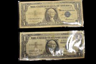 LOT OF 2 SILVER CERTIFICATE ONE DOLLAR BILLS FROM 1957,