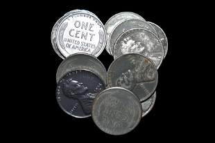 LOT OF (13) 1943 P, D, & S WAR TIME STEEL CENTS,