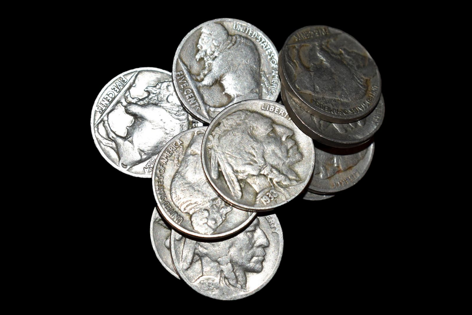 LOT OF 10 BUFFALO NICKELS, ALL FULL DATES, EARLY UNITED
