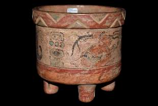 """5 5/8"""" Solid Pre-Columbian Painted 4 Leg Rattle Bowl"""