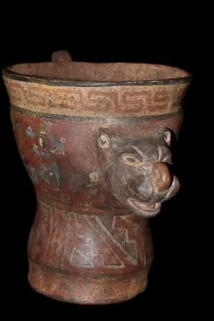 """6"""" Painted Pre-Columbian Jaguar Jar"""