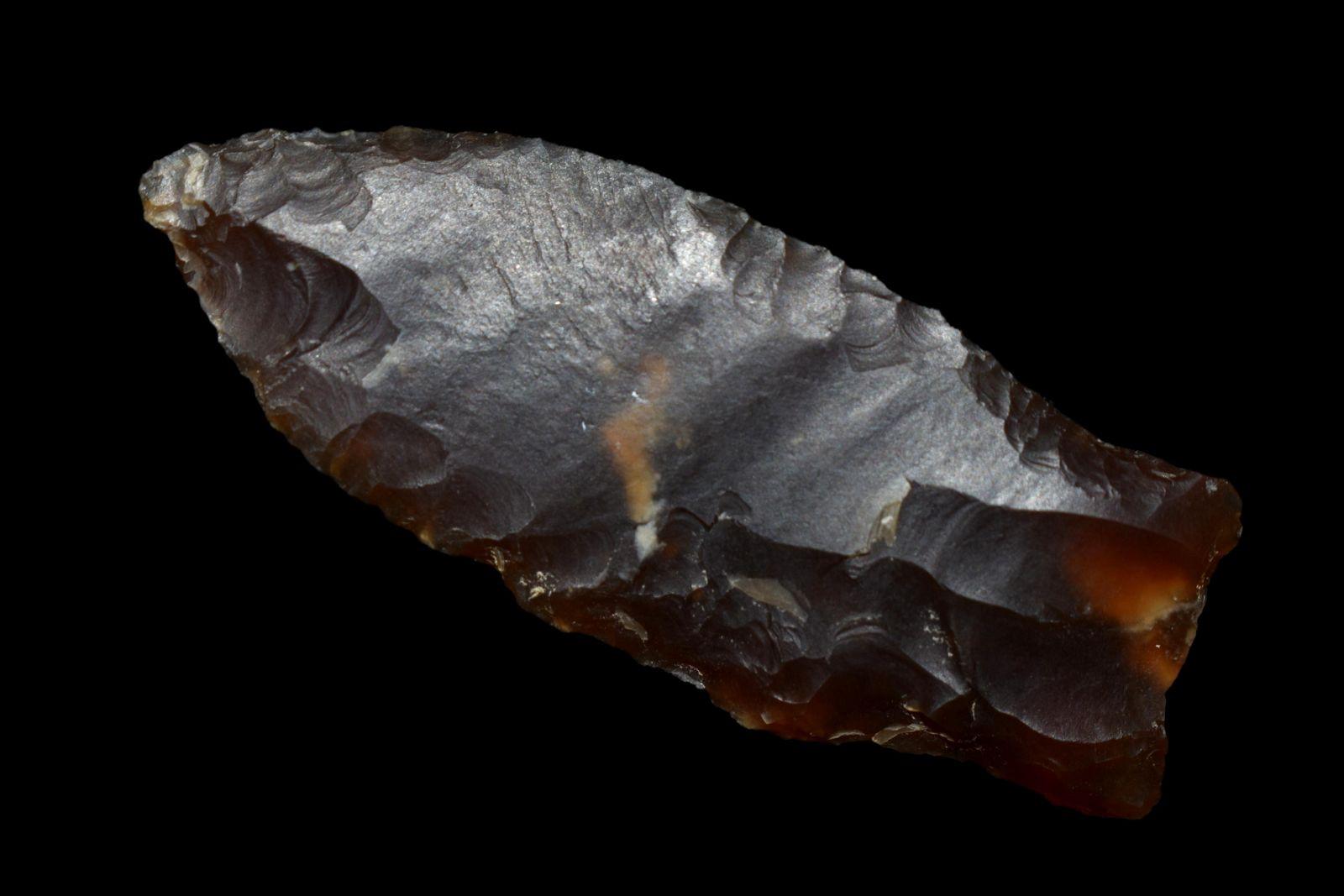 """2 1/4"""" Knife River Flint Paleo Pryor Stemmed Blade"""