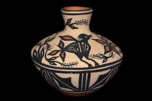 "4 1/8"" Painted Pottery Jar signed by Thomas Tenorio"