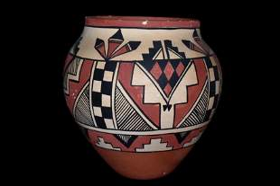 """6 1/8"""" Highly Decorated Painted Pottery Jar signed"""