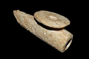 """3 1/8"""" Disc Pipe made of Limestone found in Union Co KY"""
