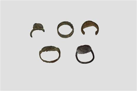 Group of 5 Roman Bronze Rings, 2-4 AD