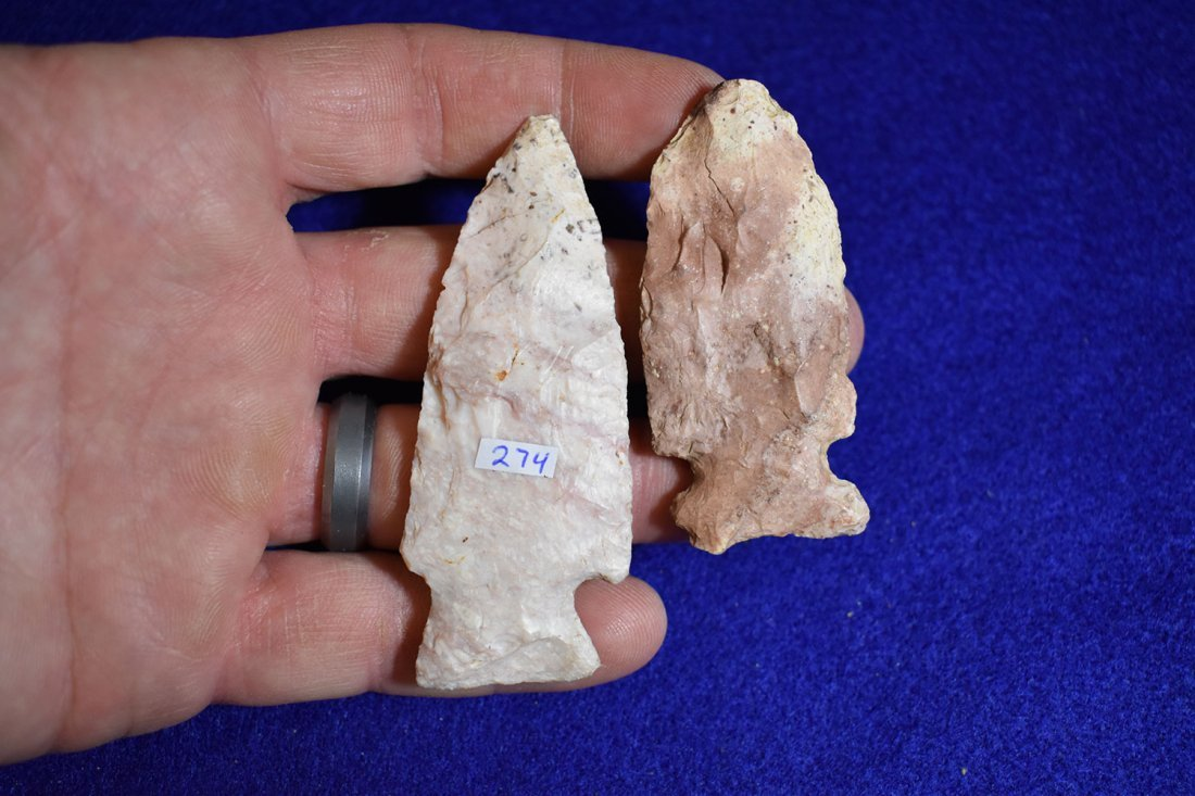 PAIR OF WOODLAND POINTS, FOUND BY JANET HINTCH IN RALLS