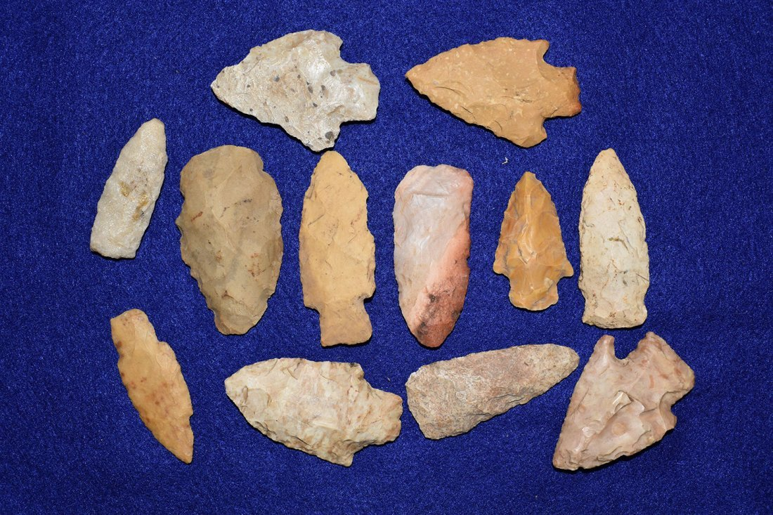 LOT OF 12 MISSOURI ARROWHEADS, GOOD RESELLABLE POINTS