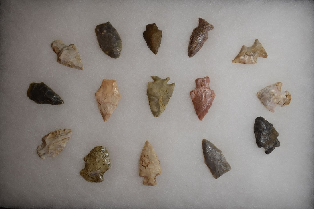 "8 1/2"" X 12"" FRAME OF 15 ARROWHEADS FOUND IN GREENE"