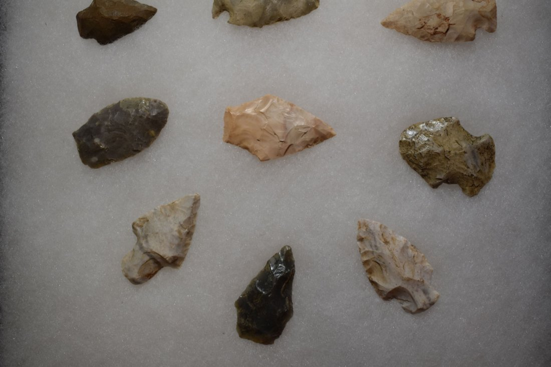 "8 1/2"" X 12"" FRAME OF 15 ARROWHEADS FOUND IN GREENE - 2"