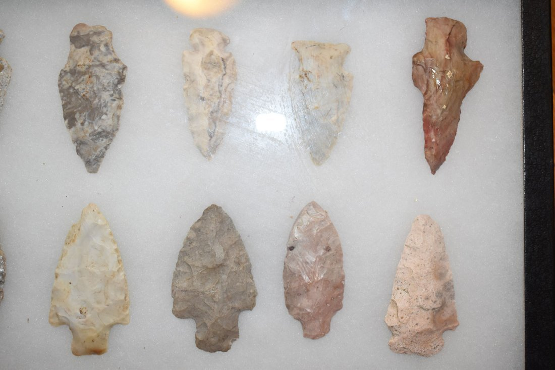 """8 1/2"""" X 12"""" FRAME OF 10 ARROWHEADS FROM STODDARD - 3"""