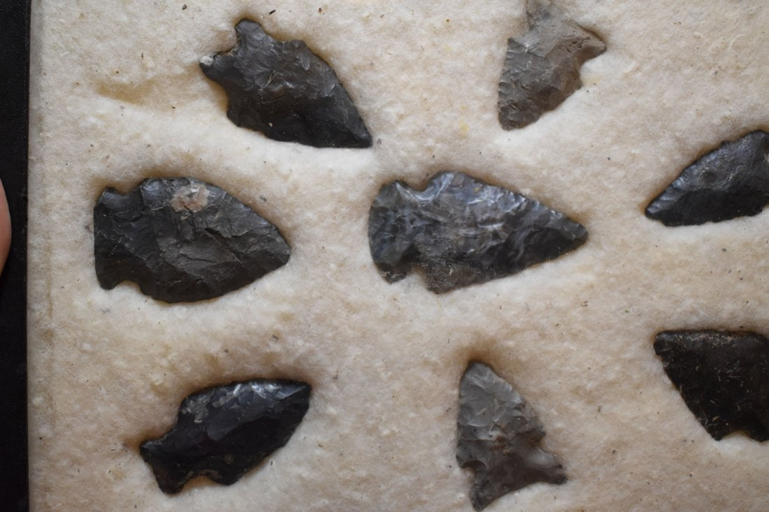 """7"""" X 9"""" FRAME OF 8 ARROWHEADS FOUND IN HURON COUNTY, - 2"""