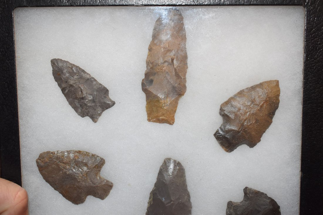 "8 1/2"" X 12"" FRAME OF 10 ARROWHEADS FROM LOGAN CO, - 2"