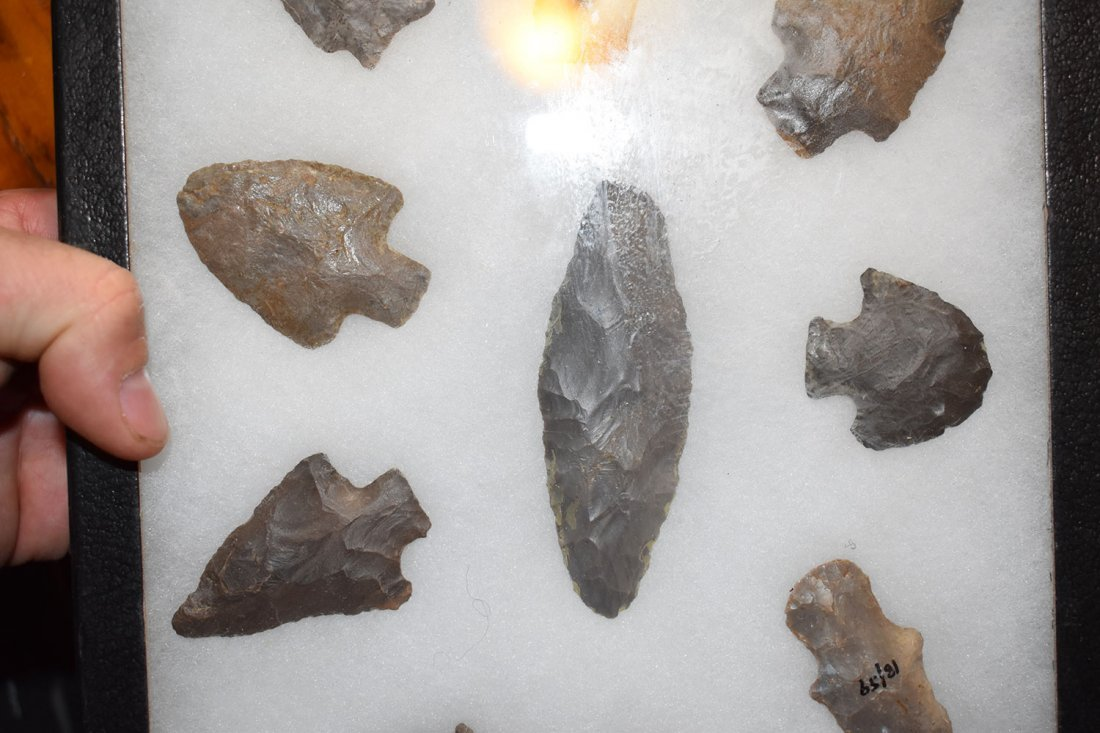 "8 1/2"" X 12"" FRAME OF 10 ARROWHEADS FROM LOGAN CO, - 3"