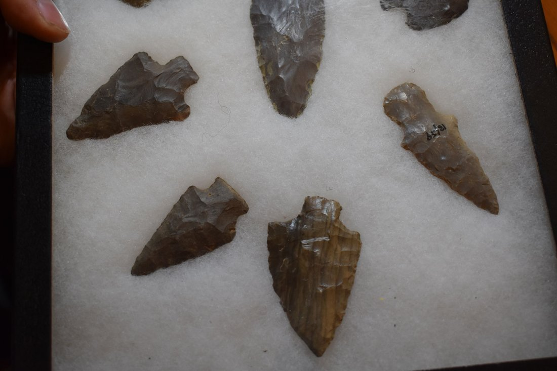 "8 1/2"" X 12"" FRAME OF 10 ARROWHEADS FROM LOGAN CO, - 4"