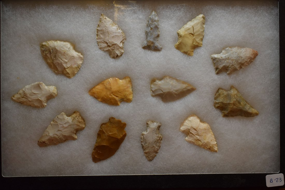 """8 1/2"""" X 12"""" FRAME OF 10 ARROWHEADS FROM STODDARD"""