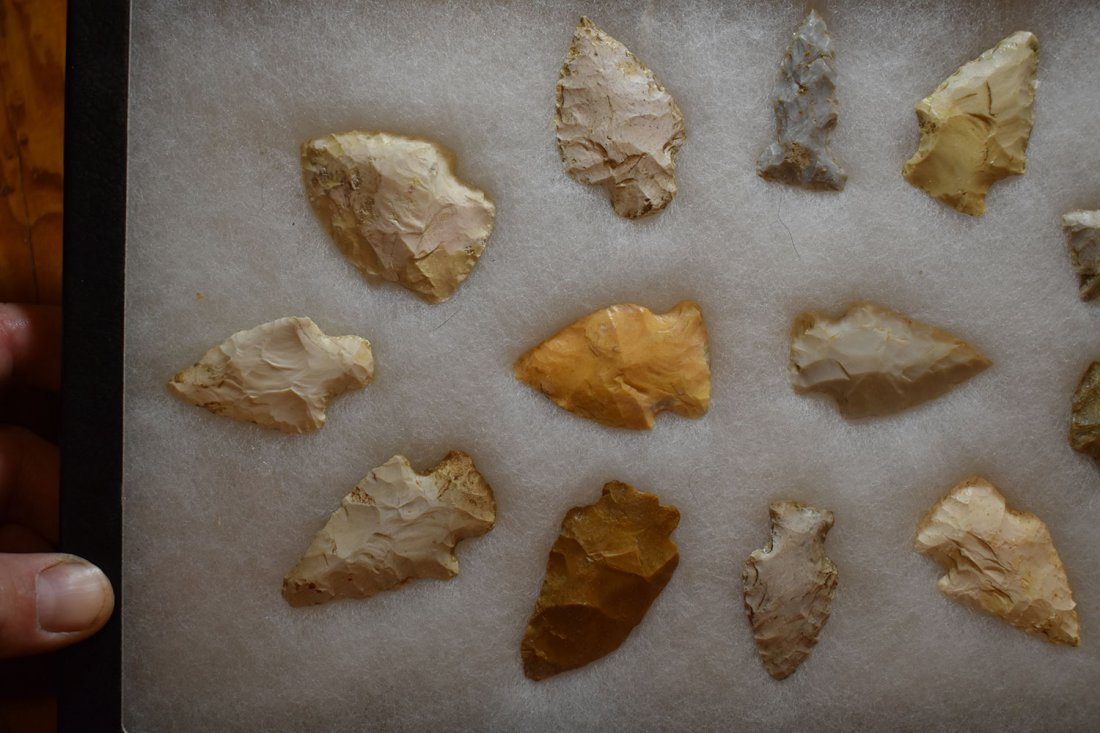 """8 1/2"""" X 12"""" FRAME OF 10 ARROWHEADS FROM STODDARD - 2"""
