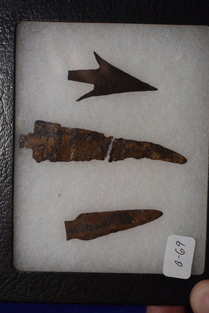 FRAME OF 3 HISTORIC IRON TRADE POINTS, BUFFALO SPEAR.