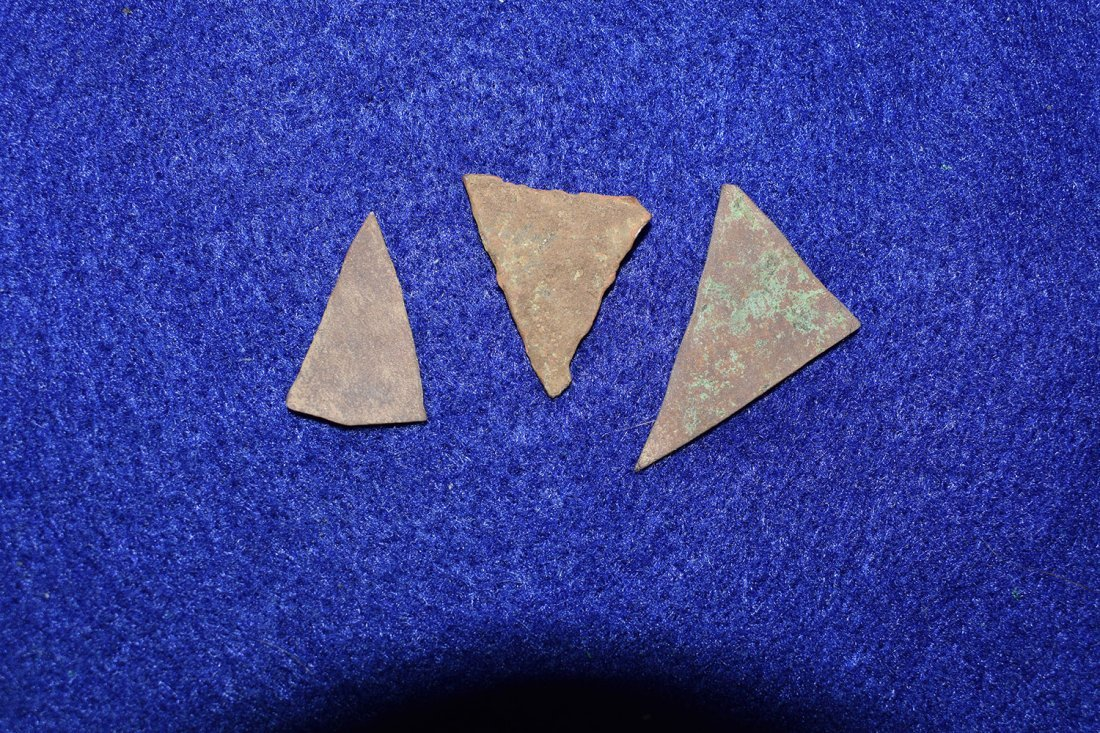 3 HISTORIC COPPER TRIANGLES FROM NEW YORK.  LONGEST