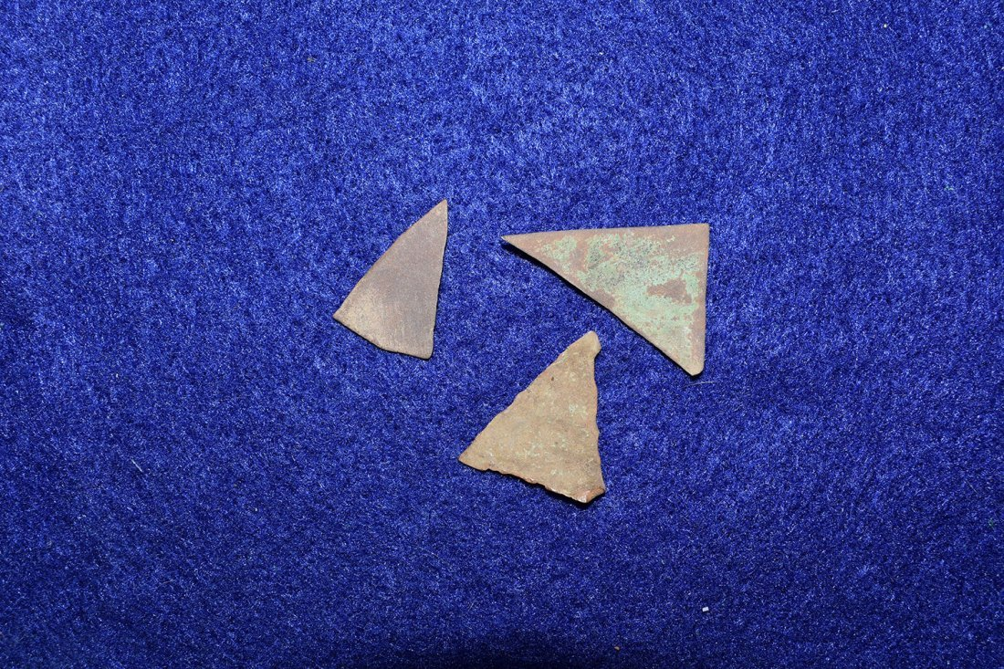 3 HISTORIC COPPER TRIANGLES FROM NEW YORK.  LONGEST - 2