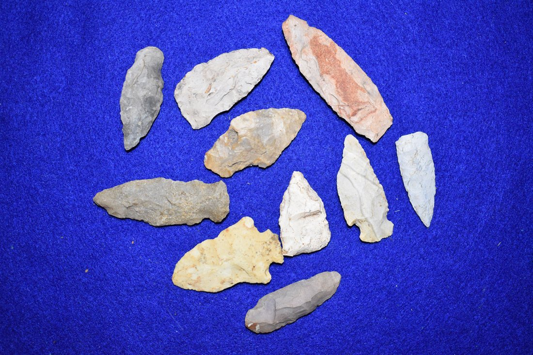 10  ARROWHEADS FROM STODDARD COUNTY, MISSOURI.  LONGEST