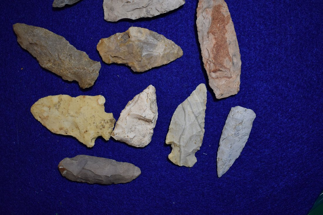 10  ARROWHEADS FROM STODDARD COUNTY, MISSOURI.  LONGEST - 2