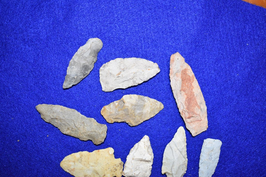 10  ARROWHEADS FROM STODDARD COUNTY, MISSOURI.  LONGEST - 3