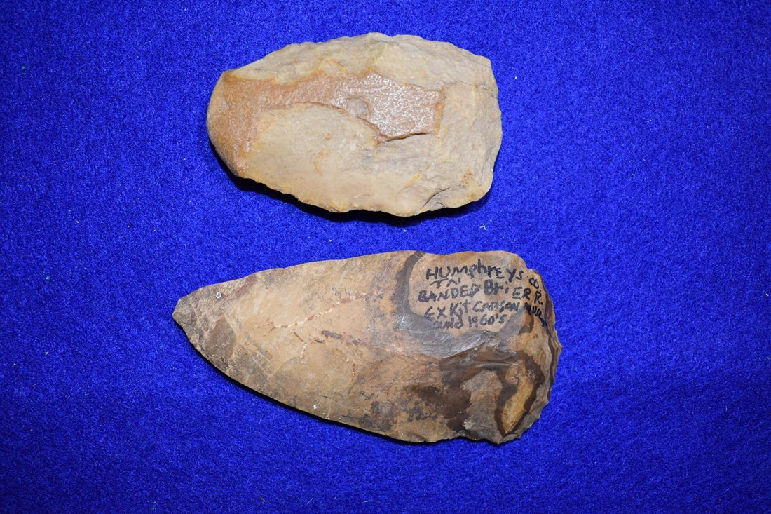 PAIR OF FLINT CELTS FROM HUMPHREYS COUNTY, TENNESSEE.
