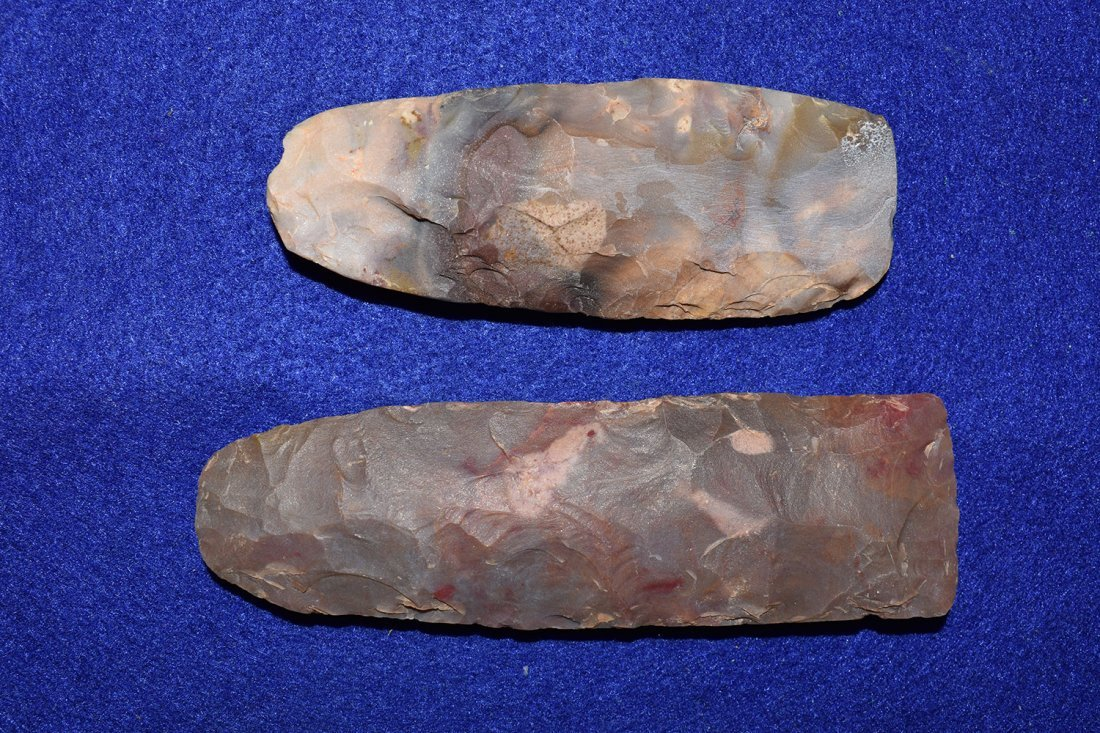 PAIR OF COLORFUL POLISHED AFRICAN NEOLITHIC FLINT