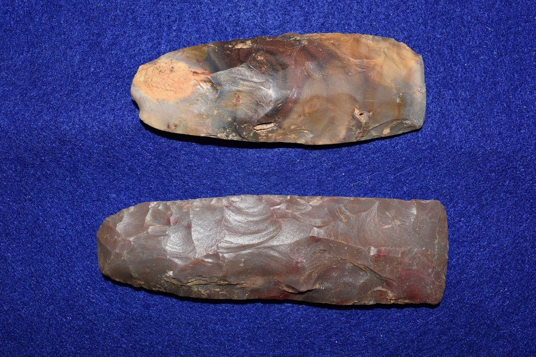 PAIR OF COLORFUL POLISHED AFRICAN NEOLITHIC FLINT - 2