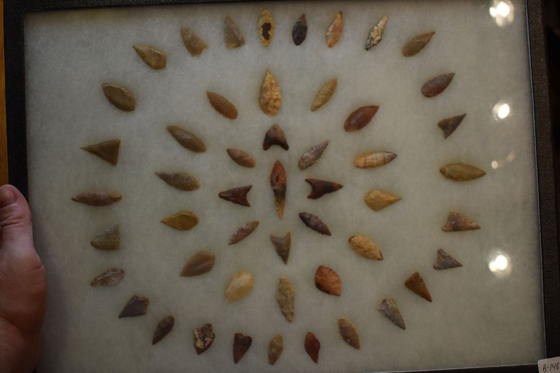 """12  1/2"""" X 16"""" FRAME OF 50 AFRICAN NEOLITHIC ARROWHEADS"""