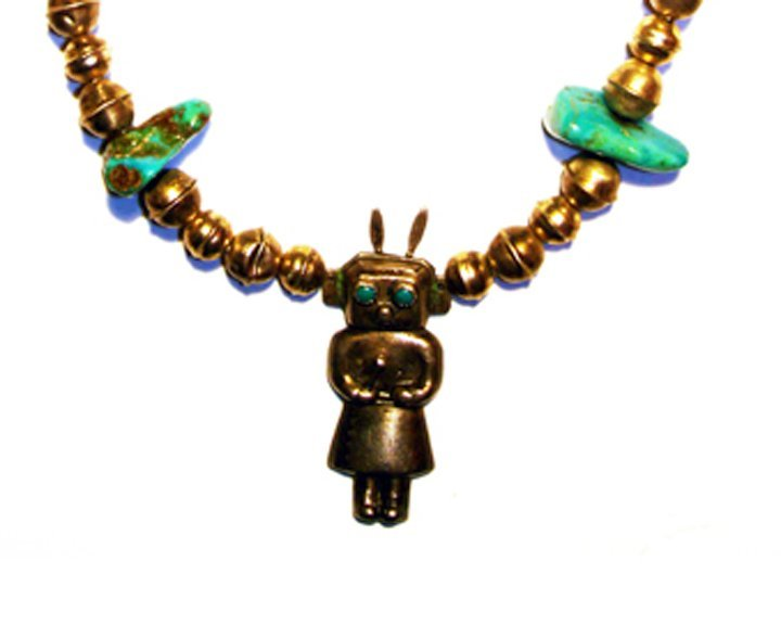 Vintage Cast Silver Kachina Bench Beads Turquoise