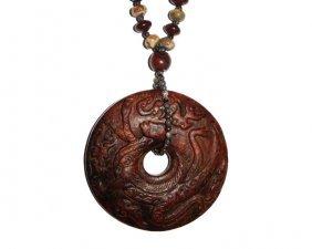 Antique Jade Bi Disk Pendant With Mythological Immortal