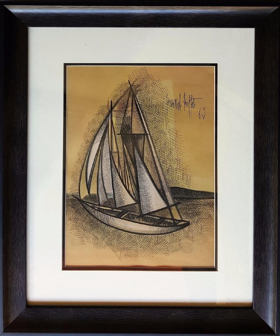 Bernard BUFFET mixed media on paper signed painting.
