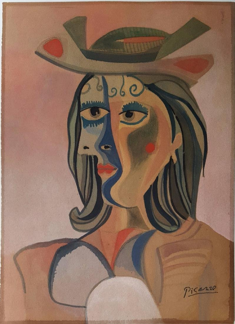 Pablo PICASSO gouache on paper signed painting  (Att.)