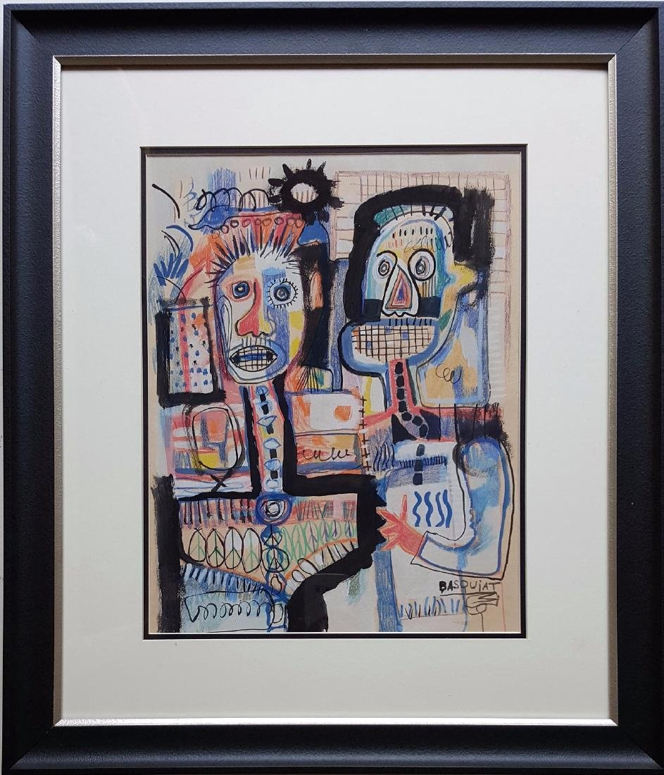 JEAN MICHEL BASQUIAT  mixed media on paper signed