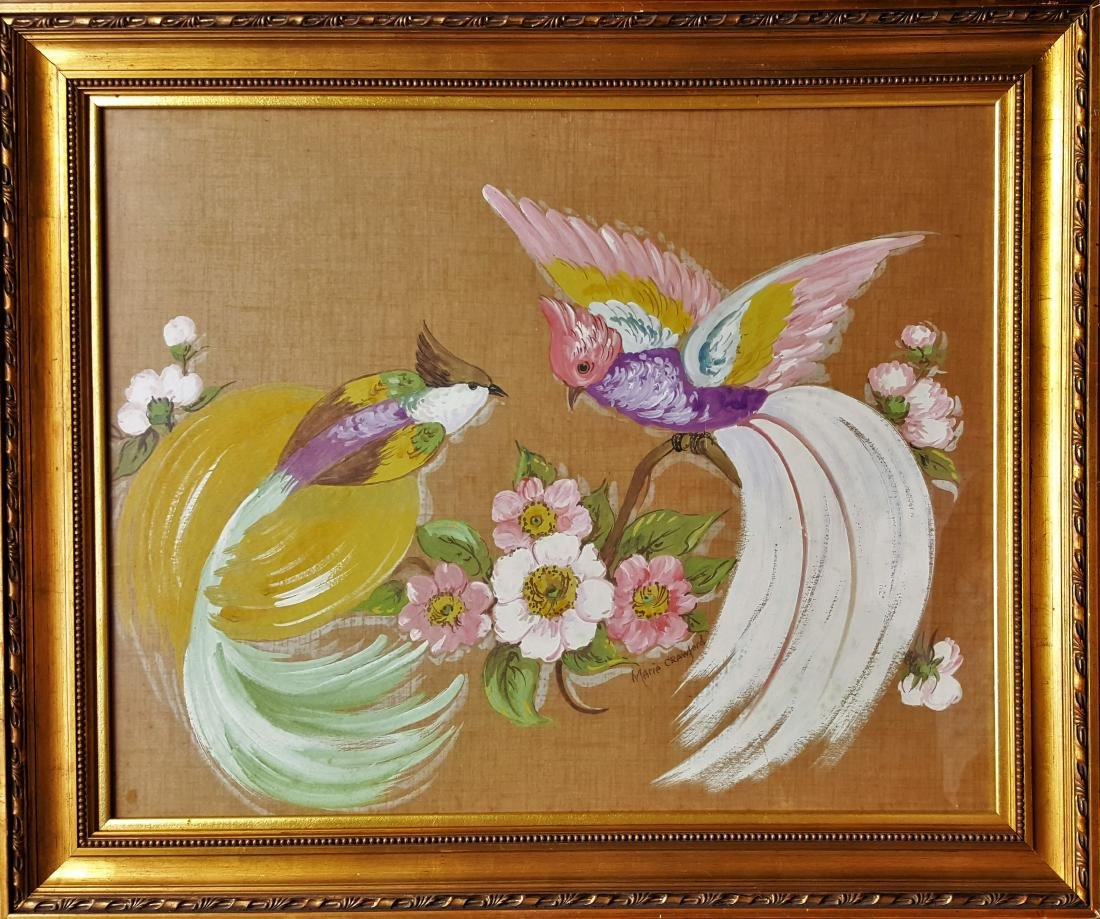 Antique mixed media on canvas painting  signed  Marie