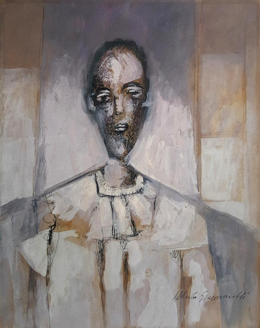 Signed Alberto Giacometti mixed media on paper signed