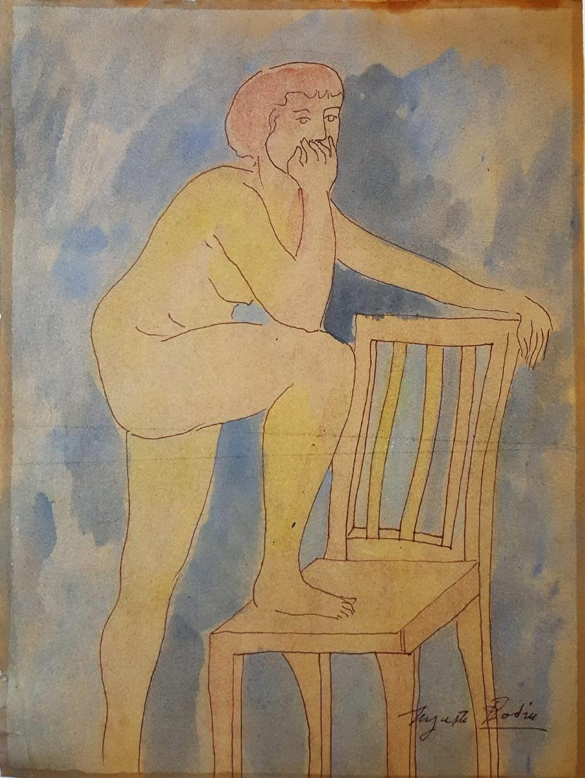 Augusto Rodin mixed media on paper signed painting.