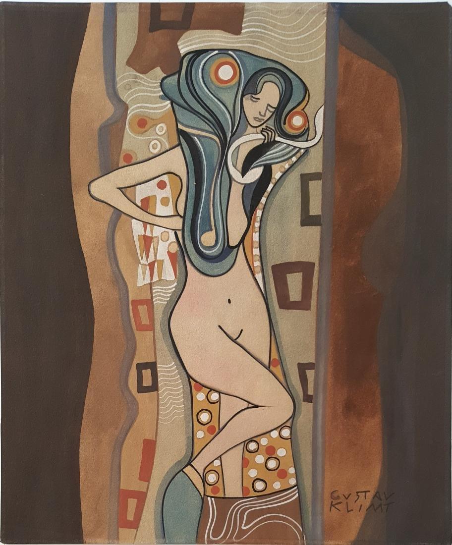 (Att.) Gustav Klim gouache on paper signed painting.
